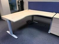 65 - CORNER DESKS IN MAPLE - 1600MM X 1600MM X 800 MM X 600MM - PEDESTALS ALSO AVAILABLE - VG COND
