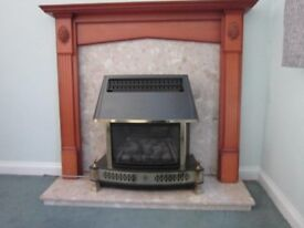 Fire Surround, Marble Hearth, back plate and Gas Fire