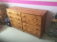 Double chest of drawers mid brown pine