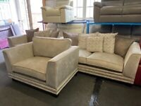 NEW EX DISPLAY JOHN LEWIS ELIXER CHAMPAGNE VELVET 3 + 2 SEATER SOFA + LOVE CUDDLE CHAIR 70%Off RRP G