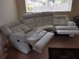 Luxury White Leather Curved Corner 4 seater Sofa with 2 electric recliners