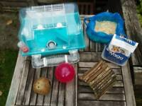 Plastic hamster home + extras