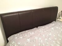 THIS WEEK ONLY - Double storage bed with firm mattress, brown leather frame