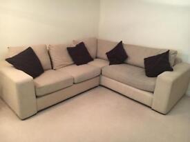 L shaped corner sofa, cream with brown cushions