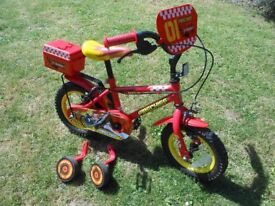 Apollo Fire Chief Kids Bike (12 inch wheels) with removable stabilisers.