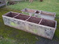 TWO OLD LARGE GALVANISED PLANTERS / TROUGHS