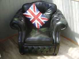 Stunning Green Leather Chesterfield Club Chair.