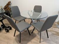 Clear Glass Dining Round Table cm 100, with 4 Chairs Faux Leather, Half Price