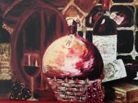 Wine cellar original oil painting print