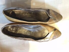 Brown/Gold medium female heels, size 39.5, Hudig Andrew B. Italy, made in Italy