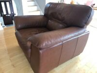 Violino Brown leather 3 seater and matching arm chair with pouffe