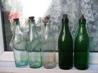 clear and green glass vintage bottle collection