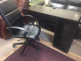 Office Desk & Black Leather Hydraulic Chair