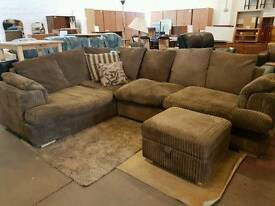 Brown fabric corduroy corner sofa
