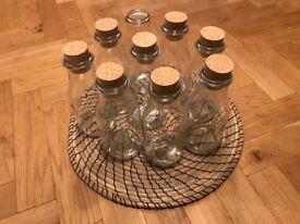 Glass jars cork tops
