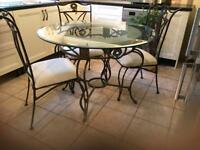 Glass dining table and 4 chairs,