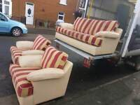 3+1+1 cream leather arms/base gold and red stripey sofa