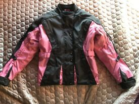 Ladies/womens textile motorcycle jacket with body armour
