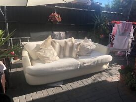 Cream part leather sofa & footstool
