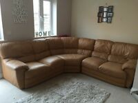 Tan leather corner sofa