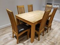 Solid Oak Dinning Table, Chairs, TV Unit and Nest of Tables