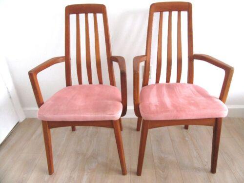 (2) VTG Benny Linden Design Danish Modern Teak Dining Arm Chairs Thailand-PICKUP