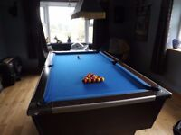 slate pool table 7x4 + 2 sets of balls, light, cues + stand, scorer + chalk. Excellent condition