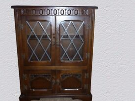 Bookcase Display case Priory style solid wood with leaded glass.