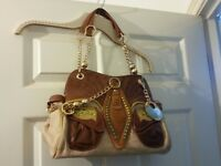 Brand New Designer Tan and Cream Leather Handbag by Bracher Emden