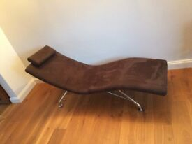 Chaise Lounge - Suede with Chrome Legs Purchased from John Lewis - Hardly used