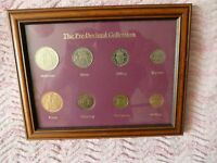 Pre-decimal coin framed collection + ½d,1d and 3d coins