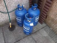 3 empty calor gas bottles £15 for the 3