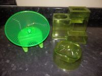 dwarf hamster maze, food bowl and green wheel