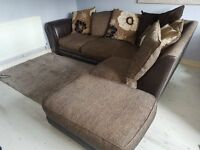 £270 O.N.O - Corner Sofa and Pouffe - DFS Left Hand Facing Pillow Back Corner Sofa