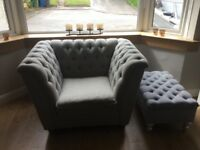 Contemporary 2+2+1 sofas, with storage footstool. Perfect condition. From pet & smoke free home.
