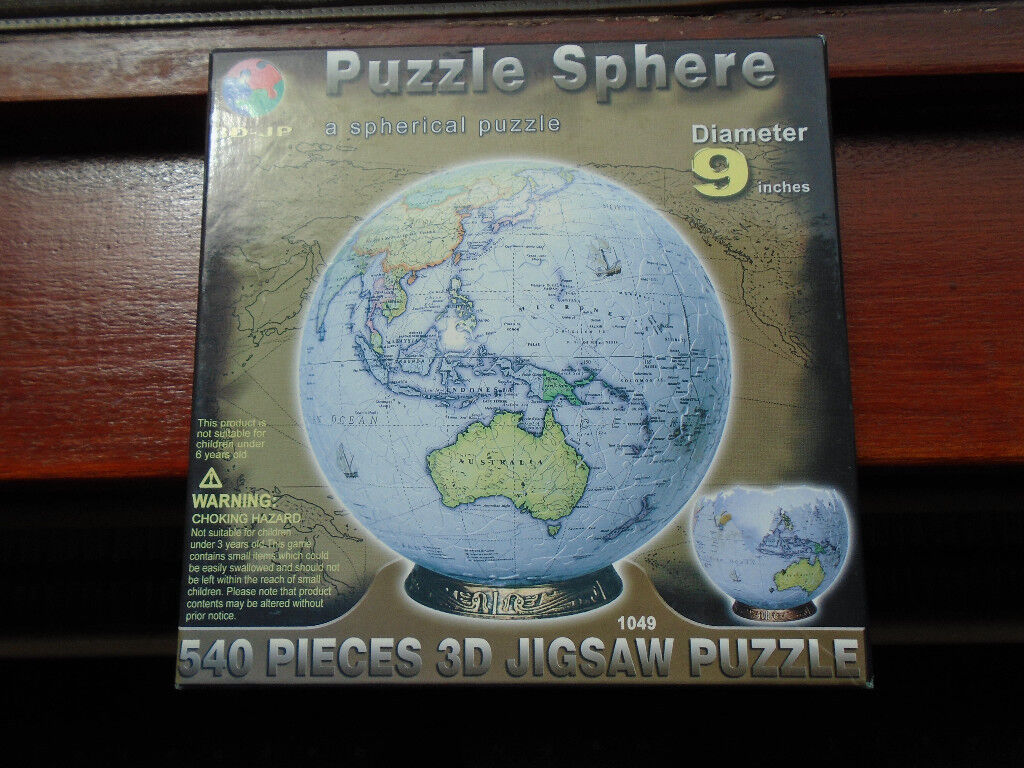 540 piece 3d puzzle jigsaw globe sphere on stand in original box 540 piece 3d puzzle jigsaw globe sphere on stand in original box diameter 9 inches gumiabroncs Gallery
