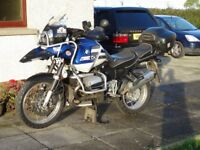BMW 1150 GS with full panniers, heated grips and satnav