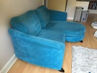 Blue 2 person sofa including foot stool