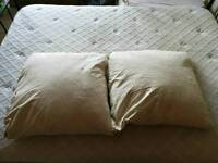 Two large feather filled cushions