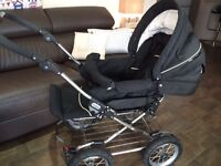 Emmaljunga 3 in 1 pram includes raincover and adaptor for maxi cosi car seat