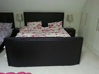 King size leather tv bed