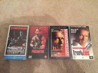 Terminator 2 / Predator / The Running Man / True Lies VHS Tapes Arnold Schwarzenegger Collection
