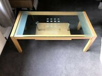 2 x Glass topped beech coffee tables