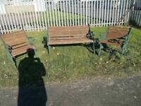 Cast iron bench and 2 chairs
