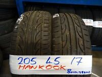 matching set of 205 45 17s 8mm TREAD £70 PAIR SUP & FITD £120 SET OF 4(LOADS MORE AV 7-DAYS)
