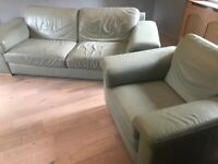 Leather 2-piece suite, sofa and armchair FREE TO A GOOD HOME!