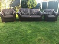 Brown leather 3 piece sofa suite can deliver