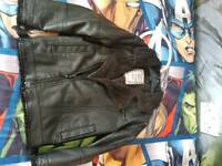 BOYS NEXT LEATHER LOOK JACKET SIZE 5-6 Y