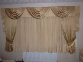 Gold Curtains Made By Interior Designer With Co-Ordinating Pelmet, Swags, Tails, Tie Backs