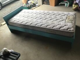 John Lewis blue single bed with mattress- excellent condition